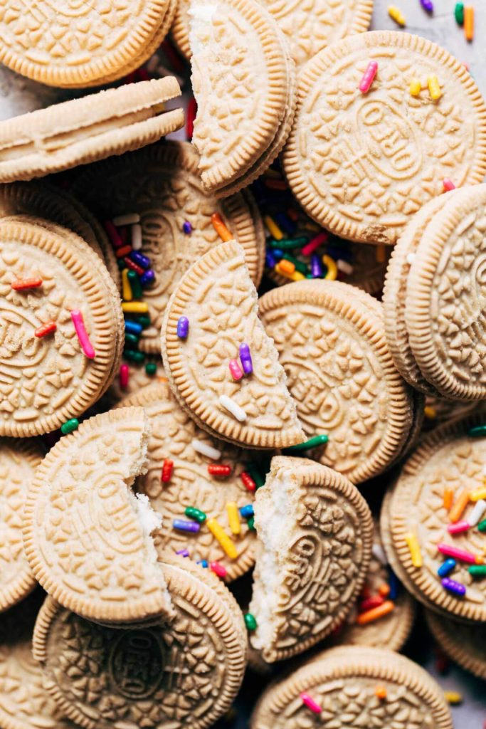 golden oreos with sprinkles