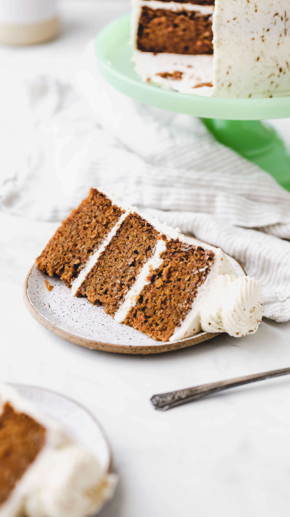 a slice of the best carrot cake