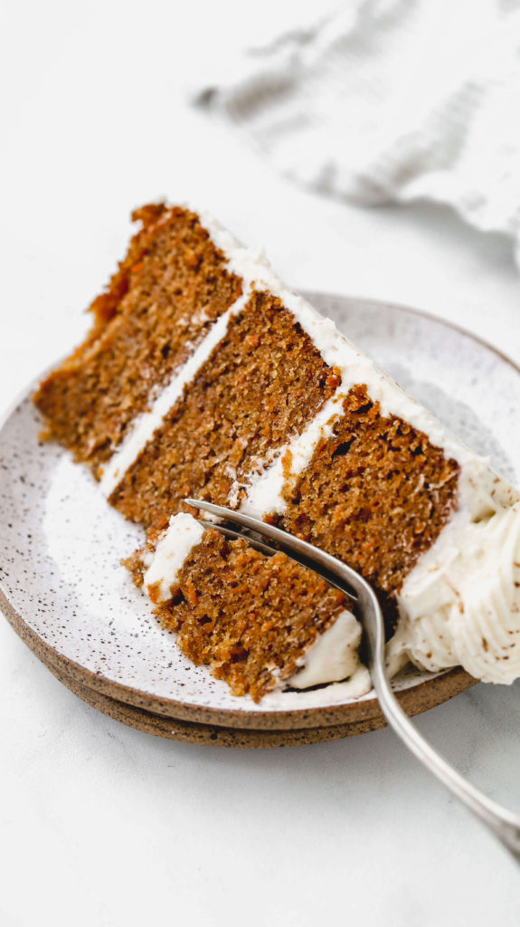 a slice of moist carrot cake