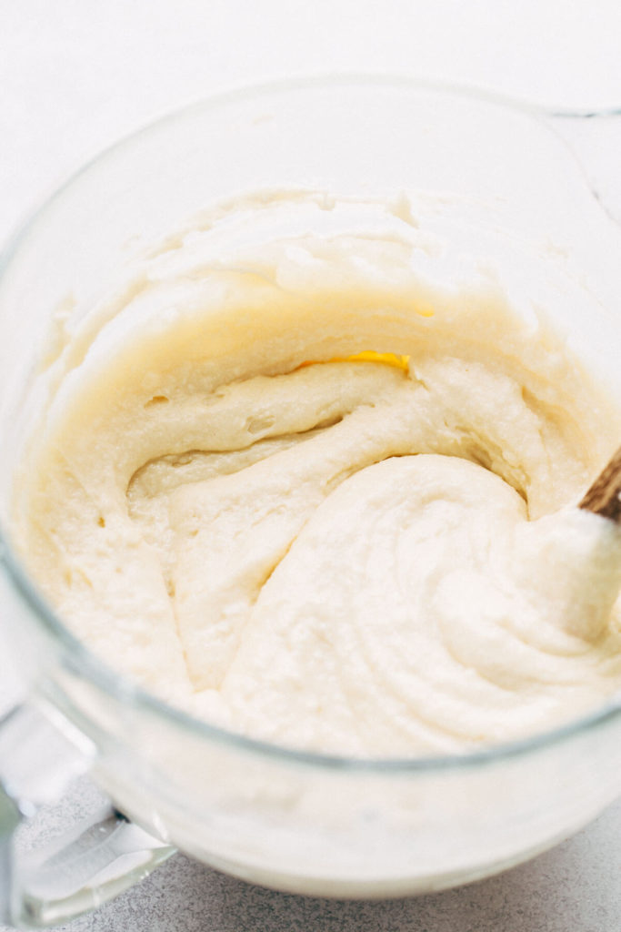 a bowl of almond cake batter