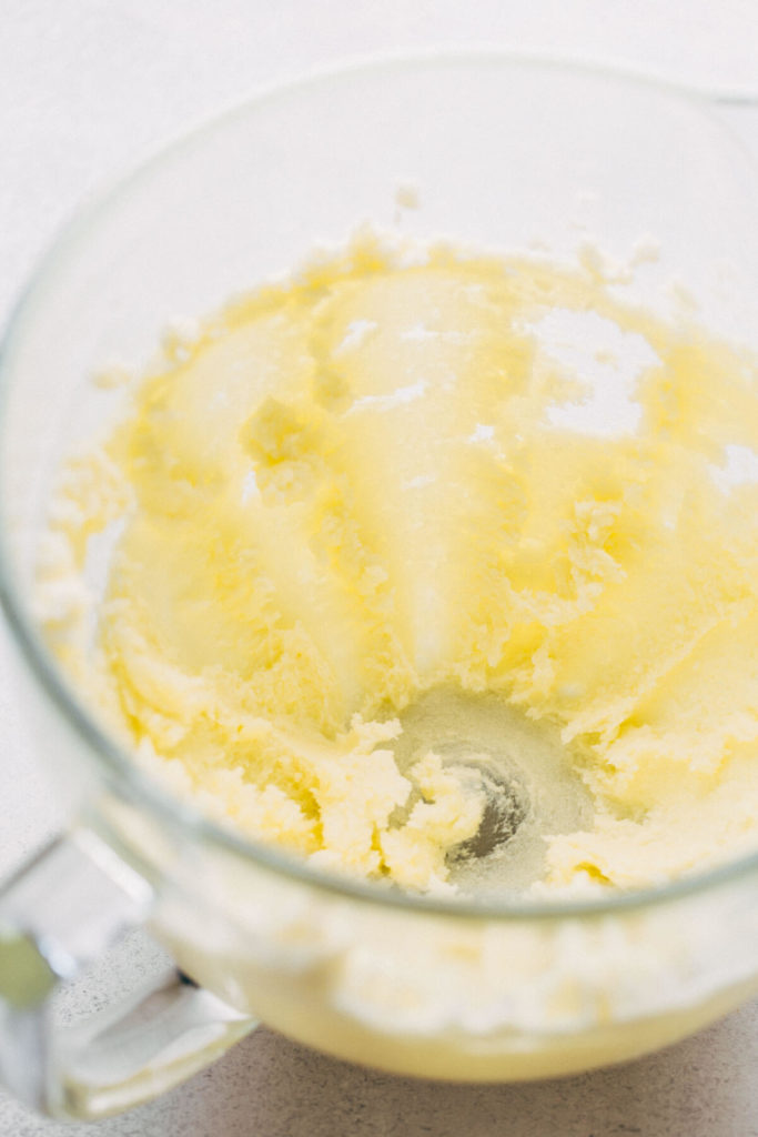 a bowl of butter and sugar whipped together