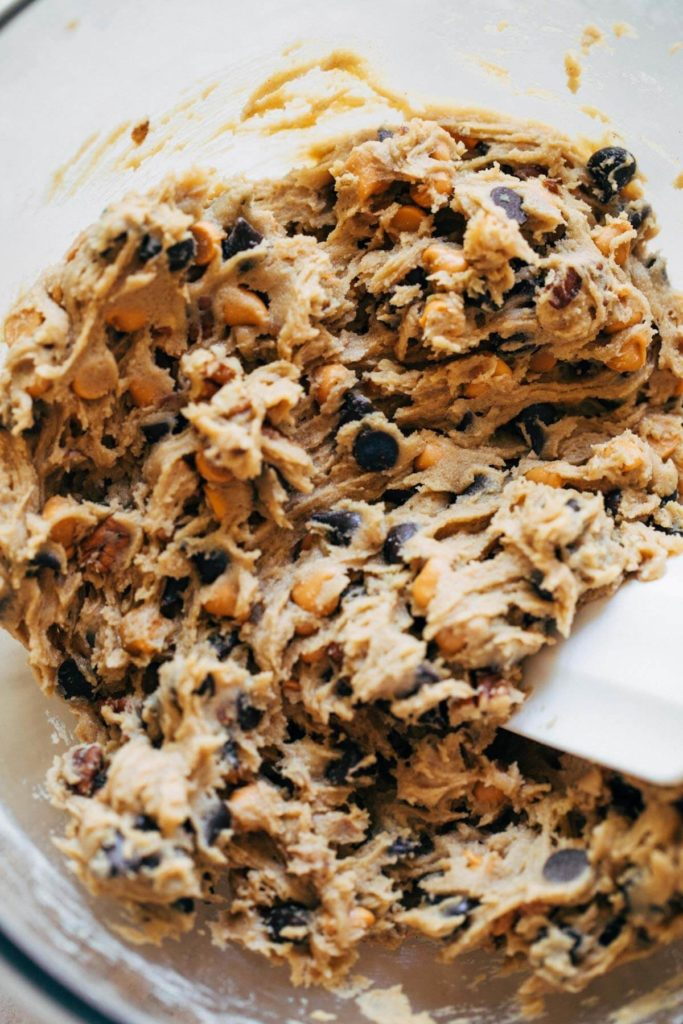 a bowl of butterscotch chocolate chip cookie dough