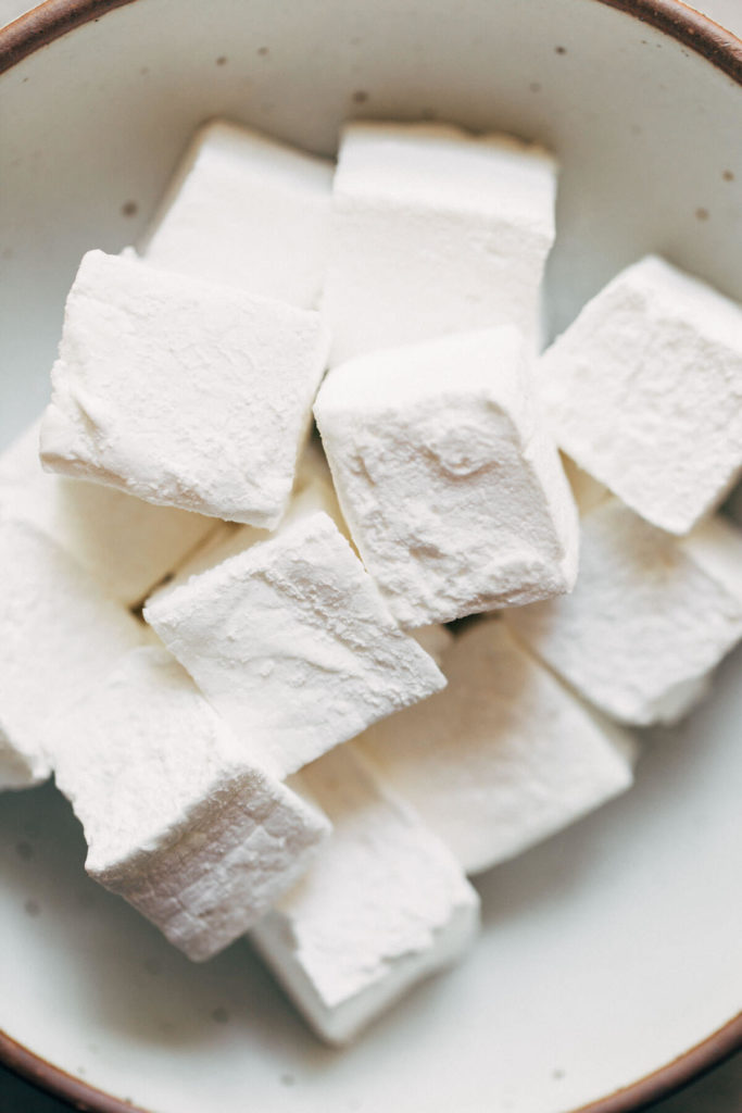 a bowl of homemade marshmallows