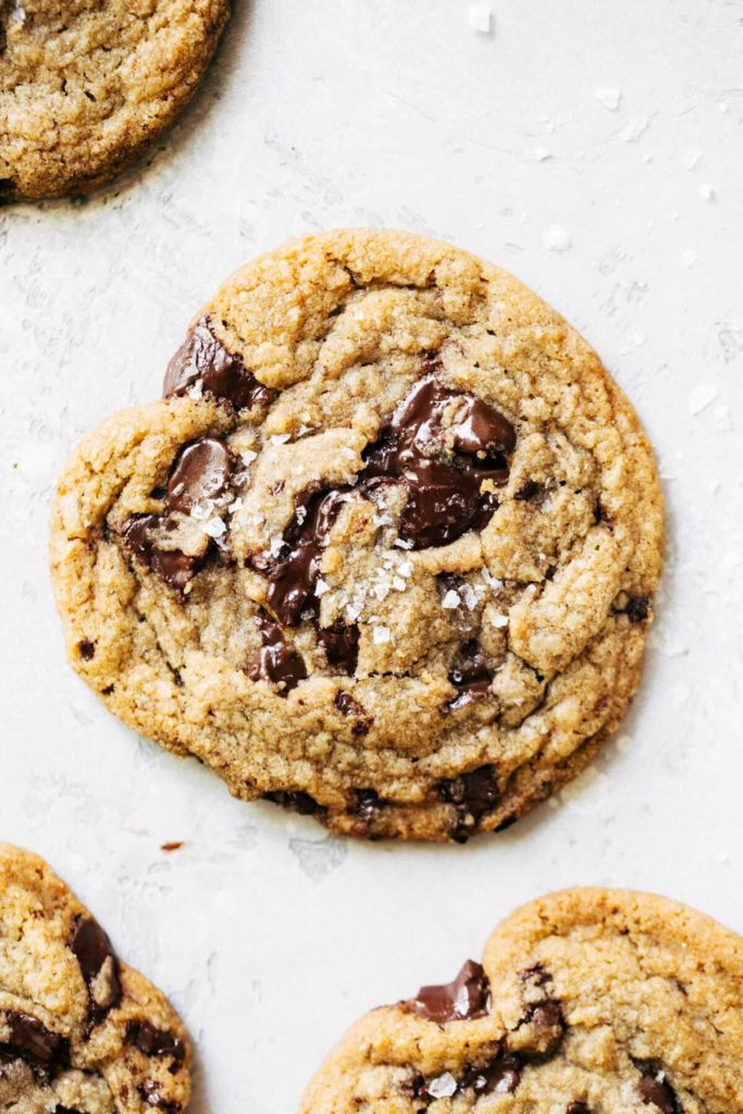 the top of a brown butter chocolate chip cookie