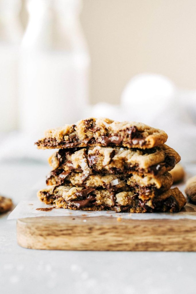 a stack of gooey brown butter chocolate chip cookies
