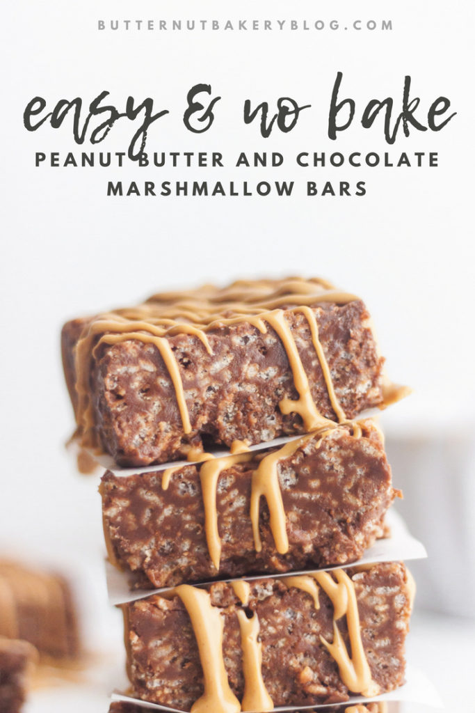 Peanut butter and marshmallow bars with a peanut butter drizzle