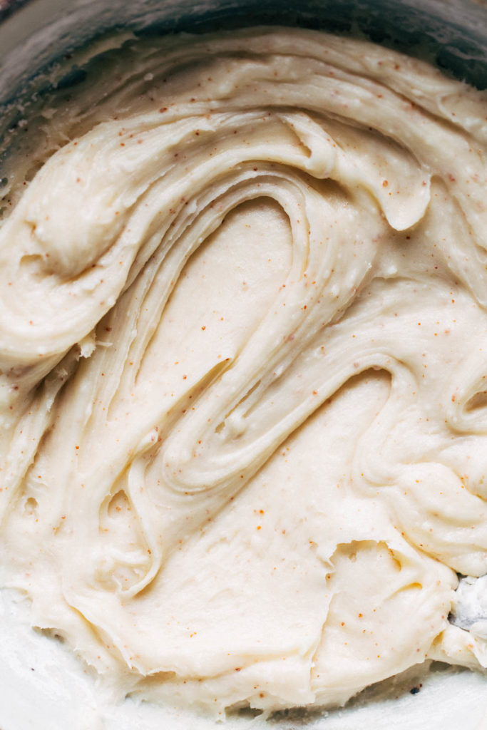 a bowl of brown butter icing