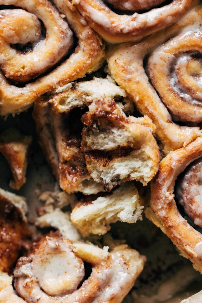 the inside of a fluffy brown butter cinnamon roll