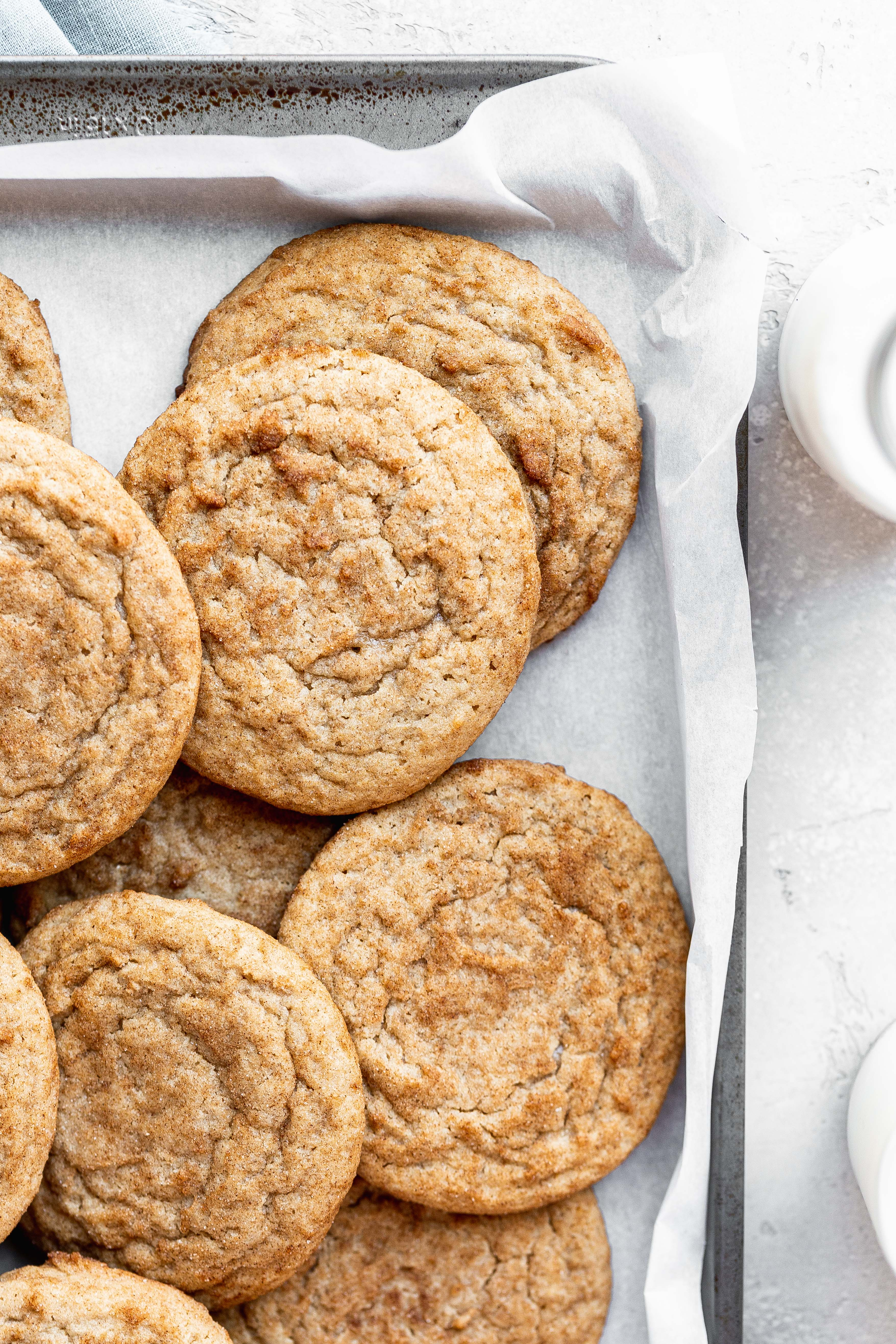 snickerdoodle cookies in a baking tray