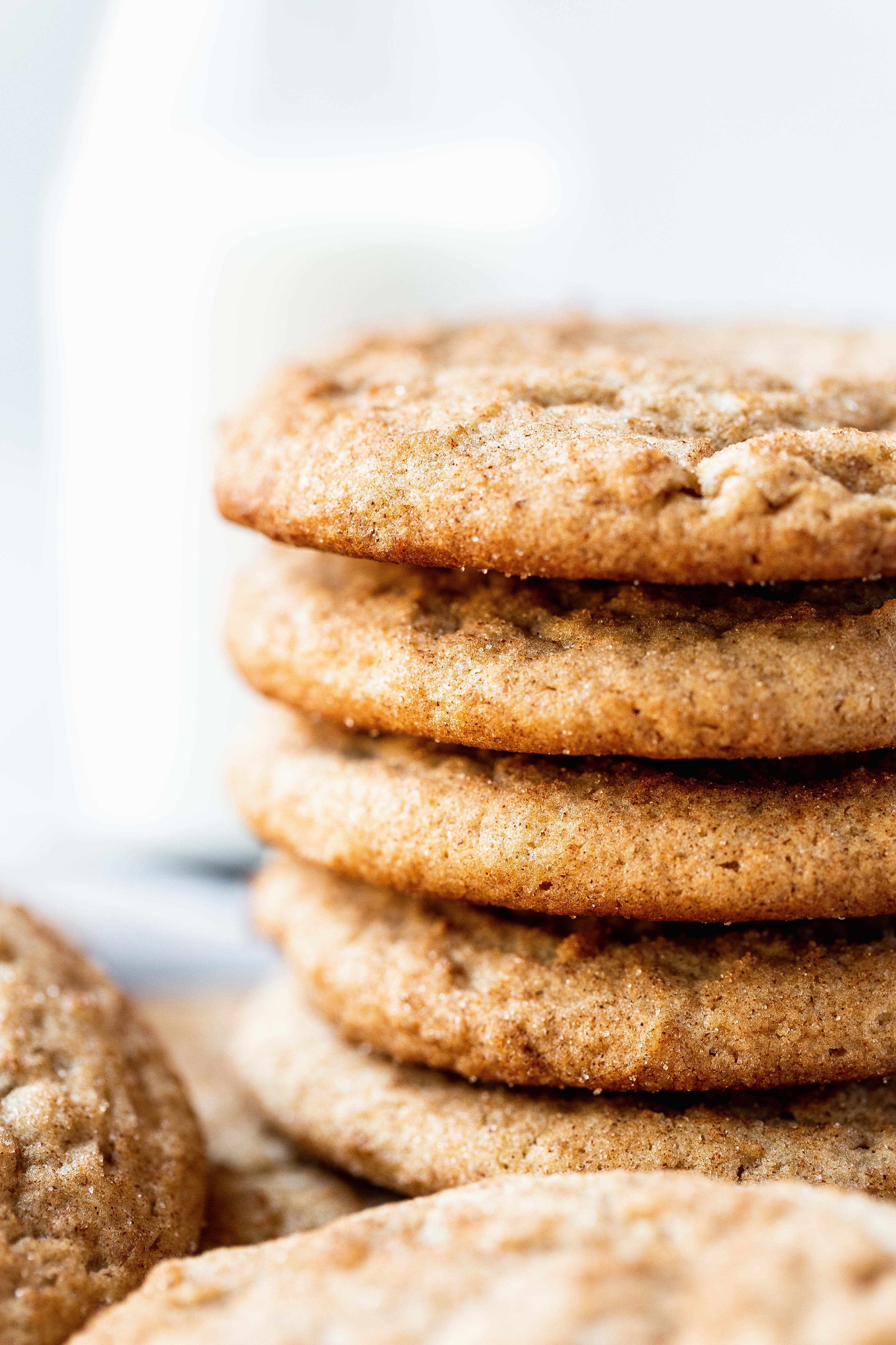 a stack of soft snickerdoodles