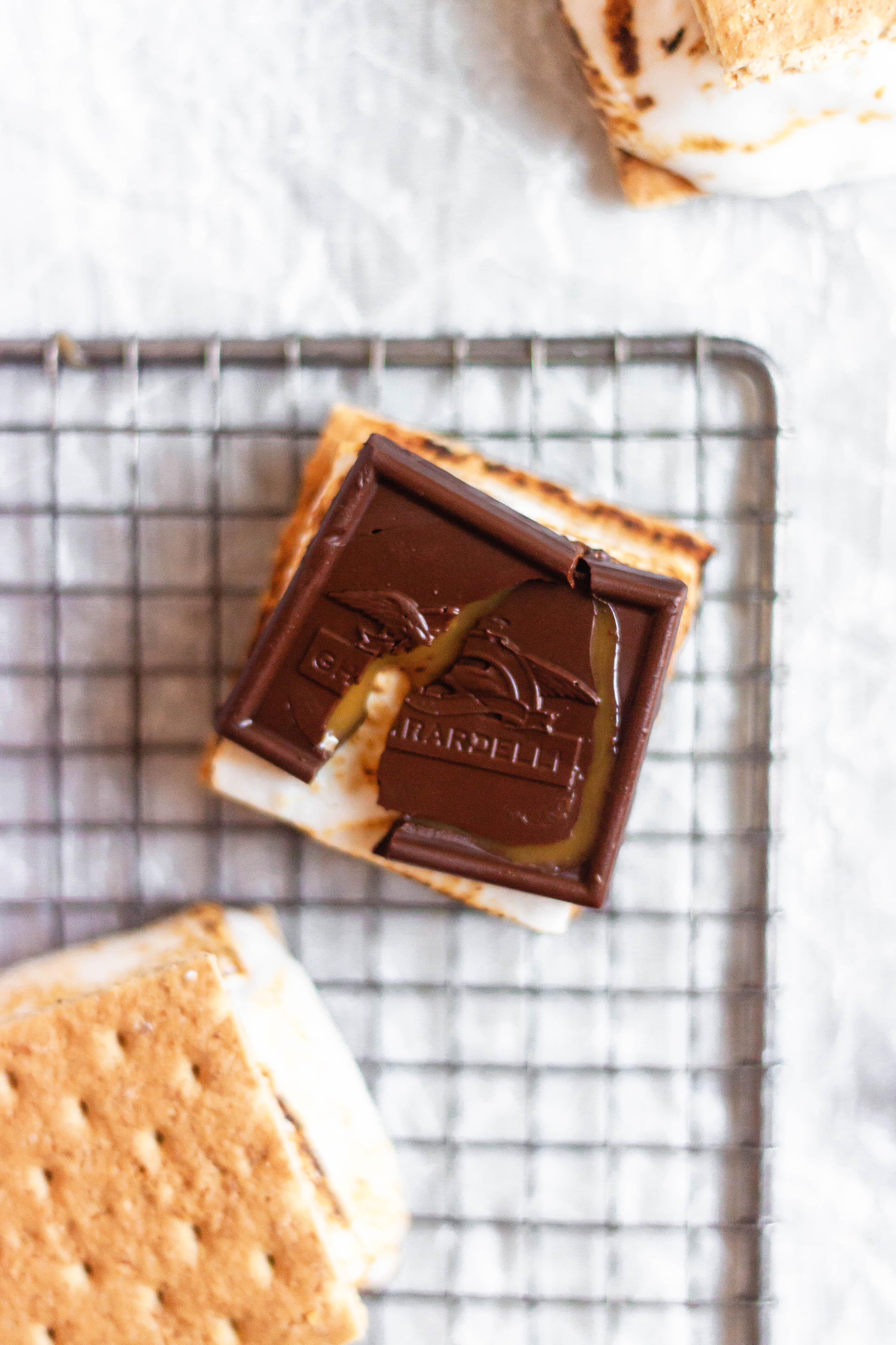 A s'more with the chocolate exposed