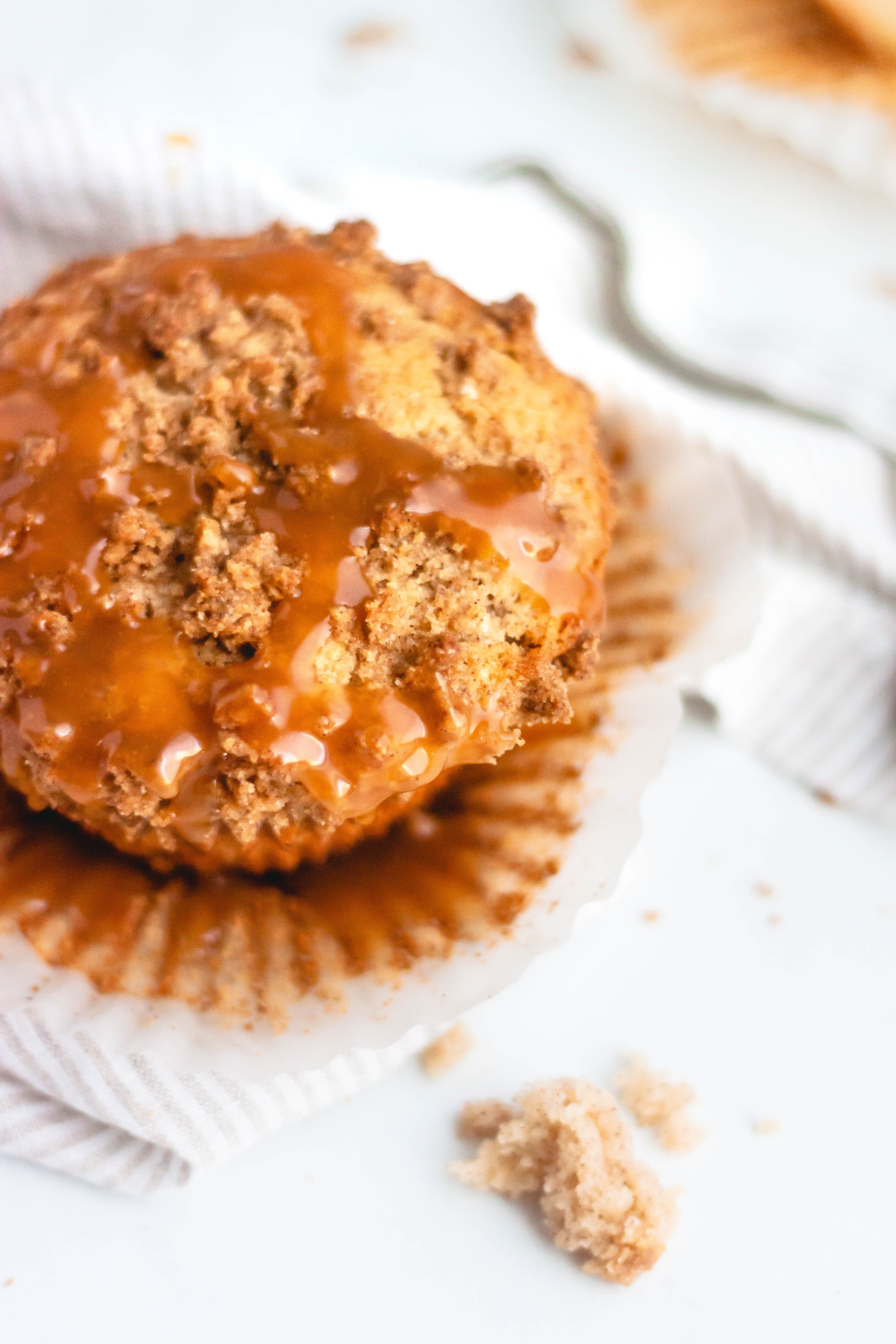 the top of a caramel apple muffin