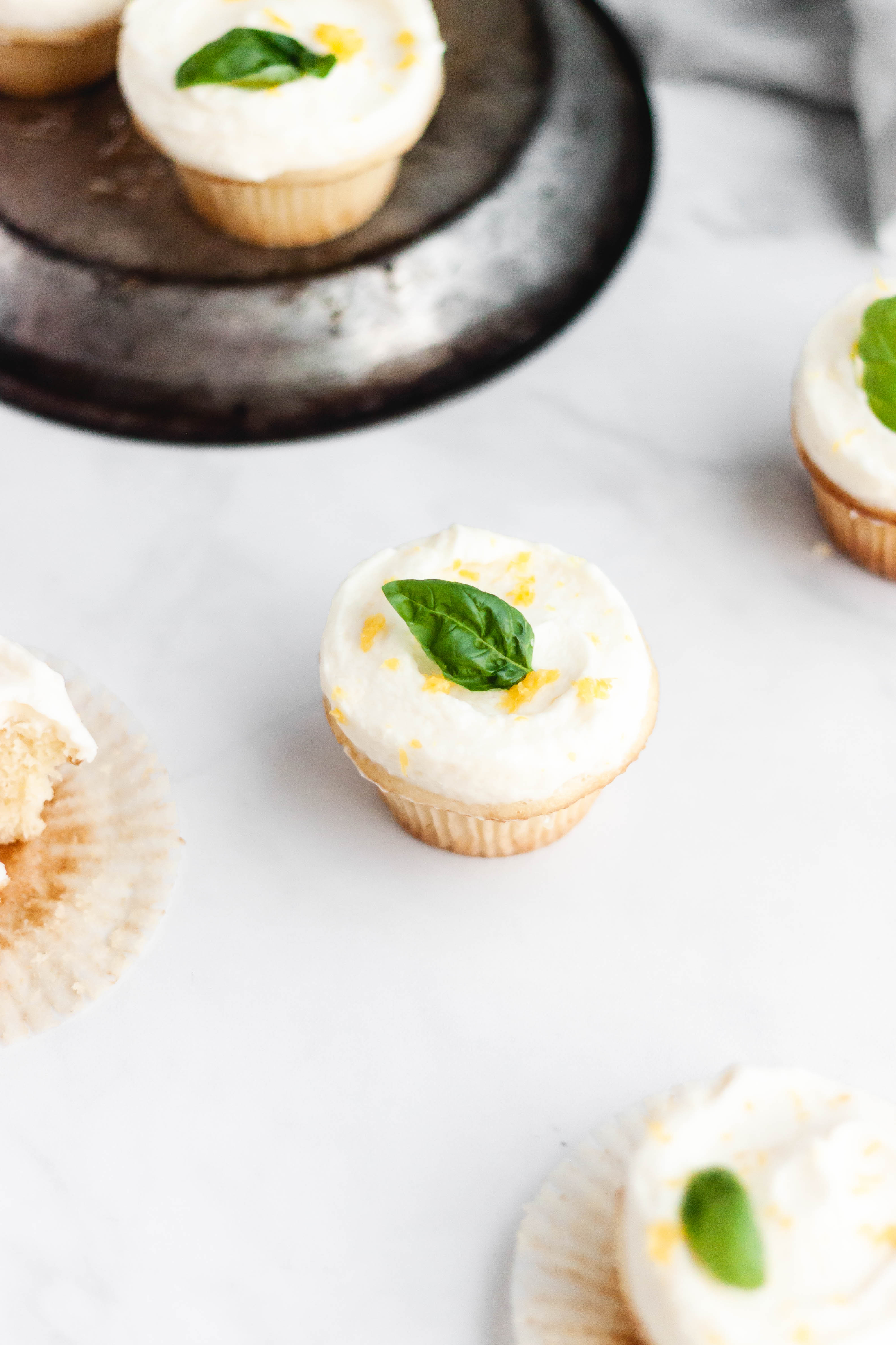 lemon cupcakes in an overhead shot