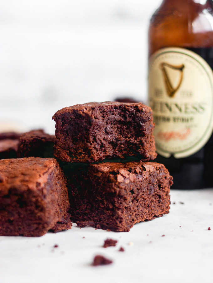 A chocolate stout brownie with a bite taken out