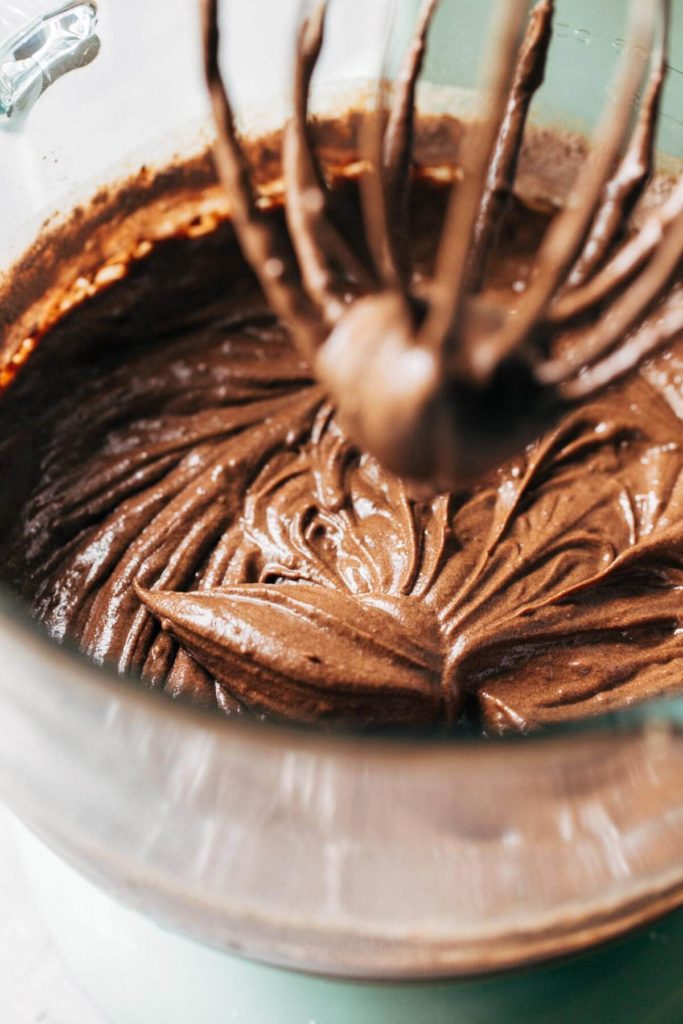 a bowl of stout brownie batter on a stand mixer