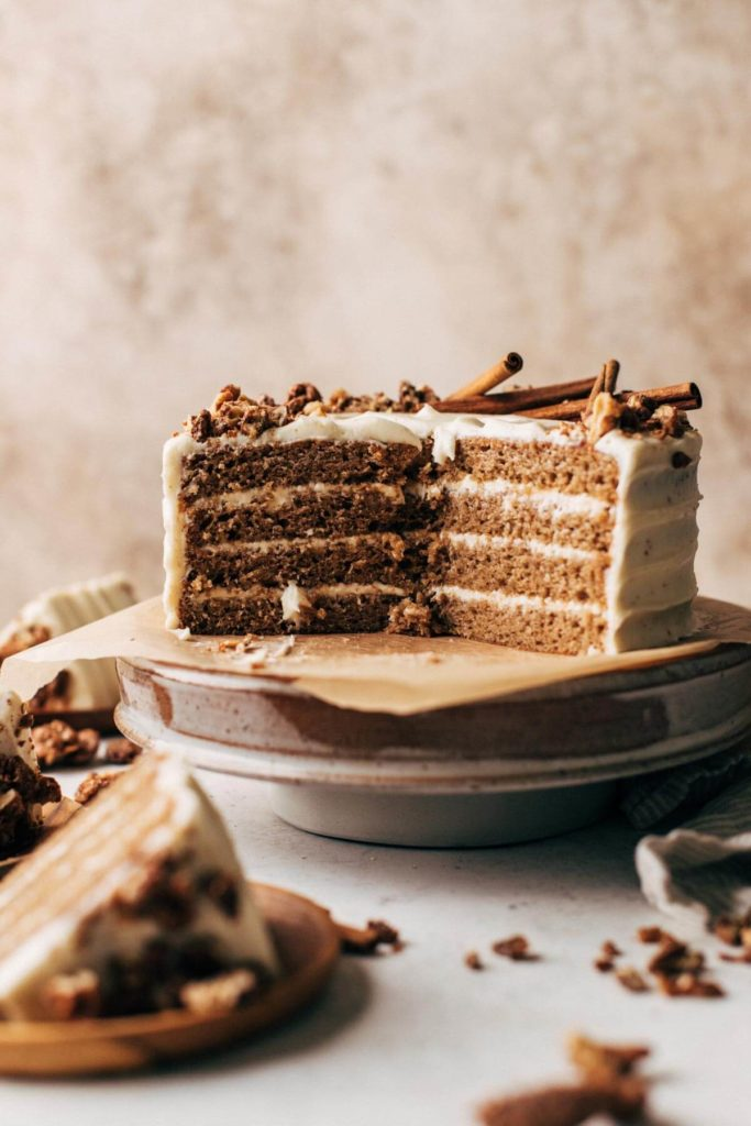 the inside of a layered spice cake