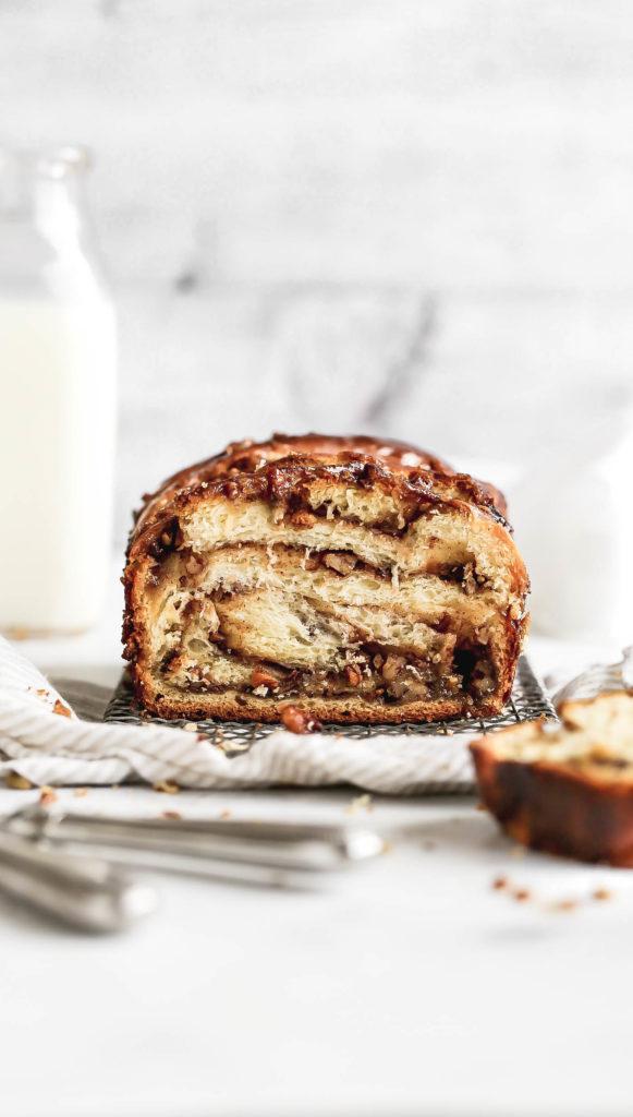 A loaf of pecan pie babka