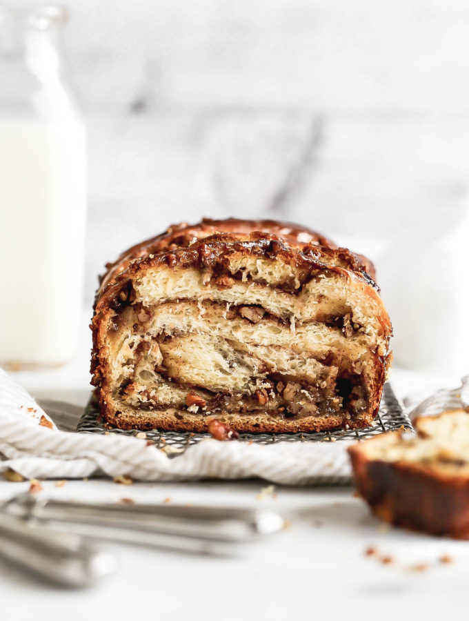 A loaf of pecan pie babka