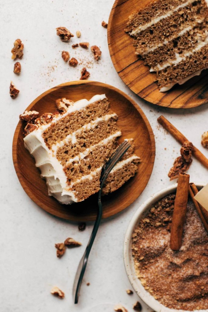 three plates of spice cake sliced