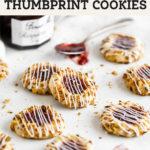 Raspberry Pistachio Thumbprint Cookies pinterest graphic