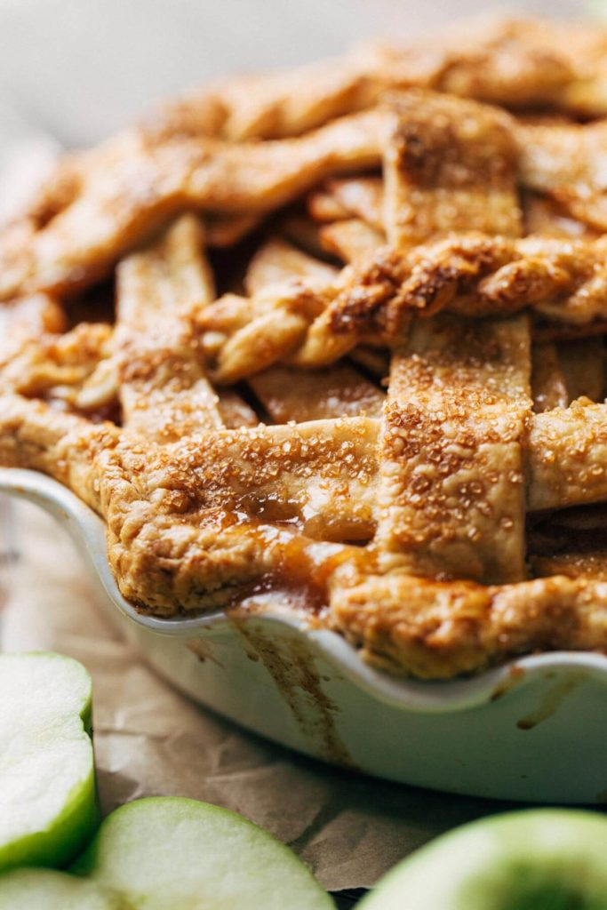 close up on the texture of baked apple pie