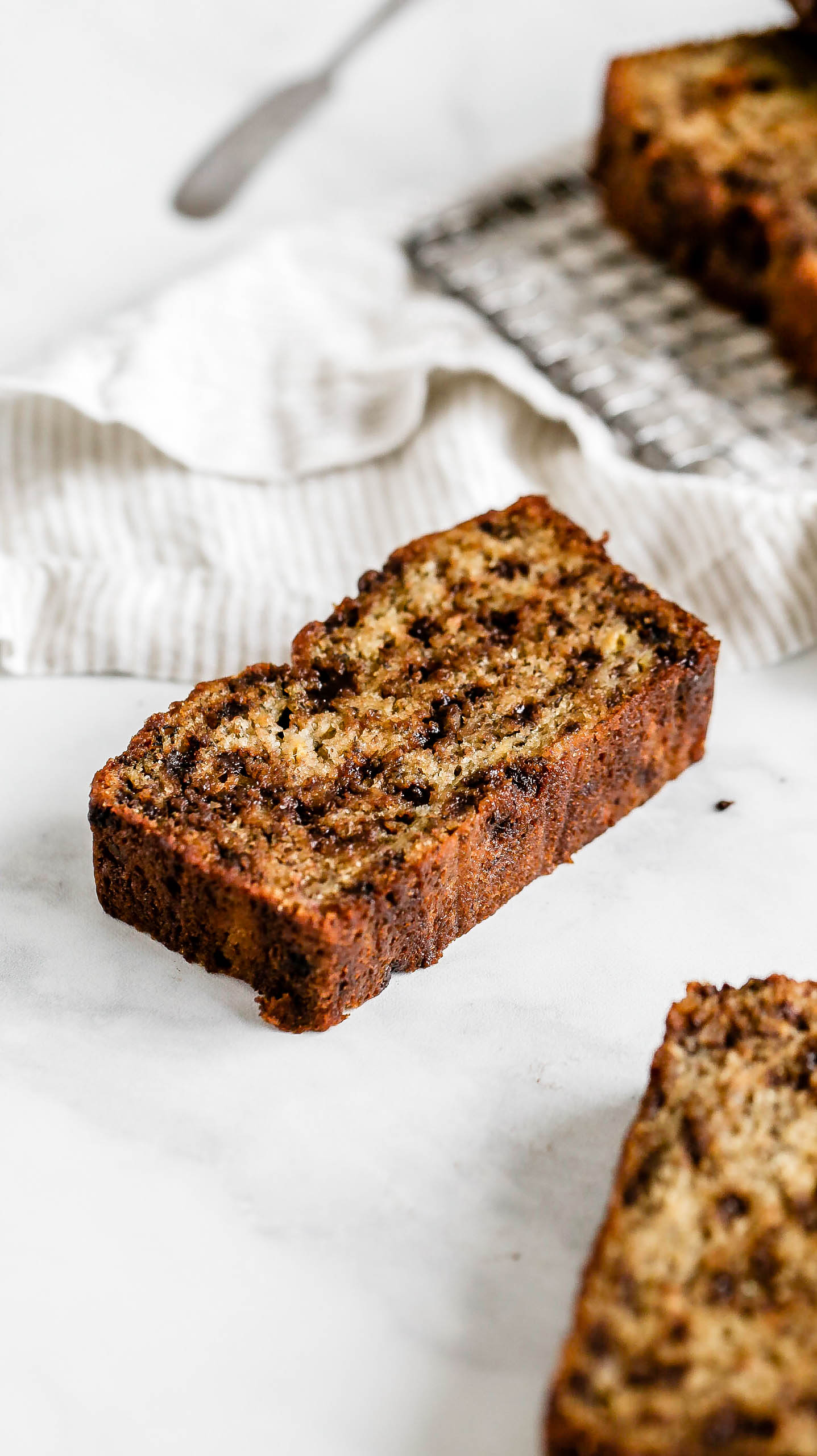a slice of chocolate chip banana bread