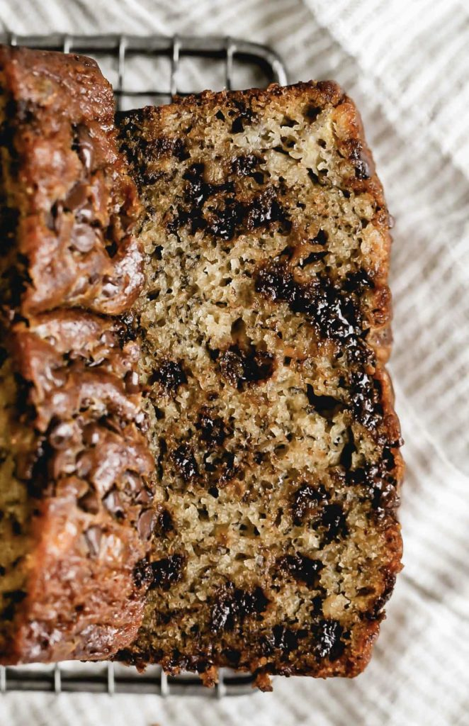 close up on a slice of chocolate chip banana bread