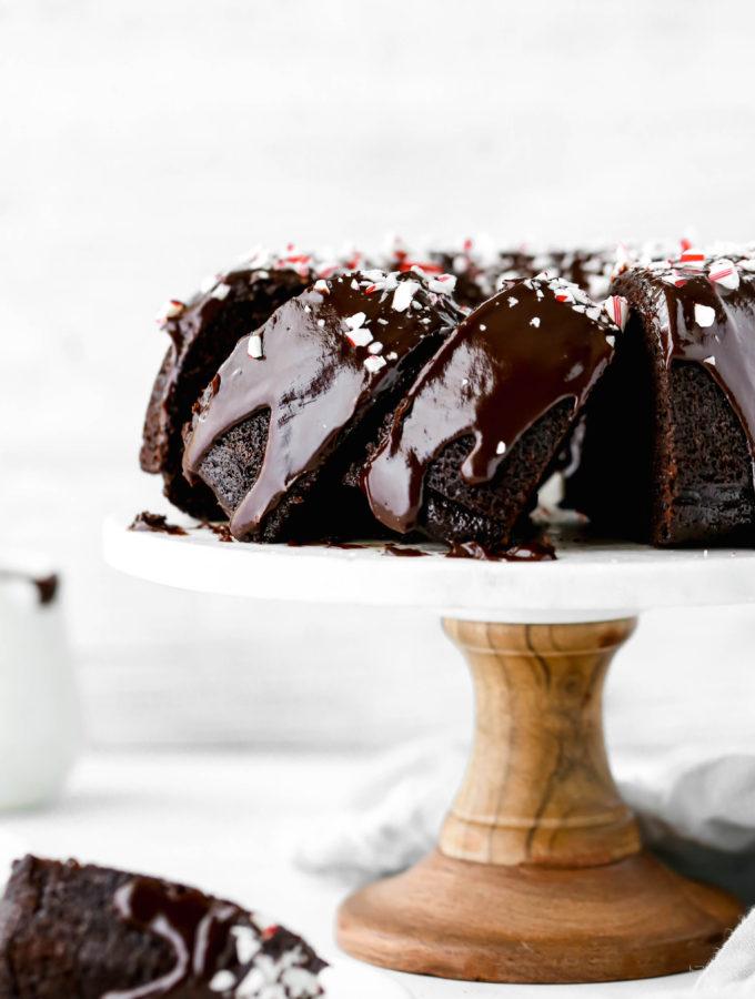 a sliced chocolate peppermint bundt cake