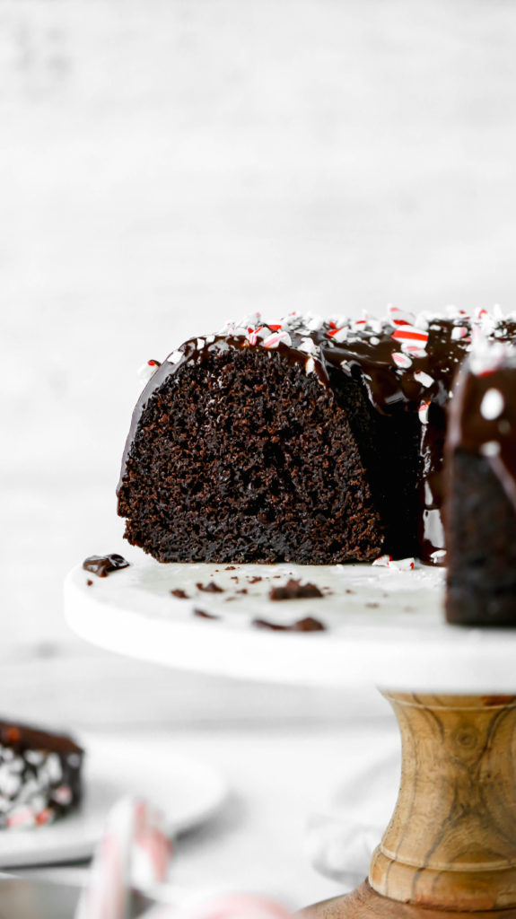 the inside of a chocolate peppermint bundt cake