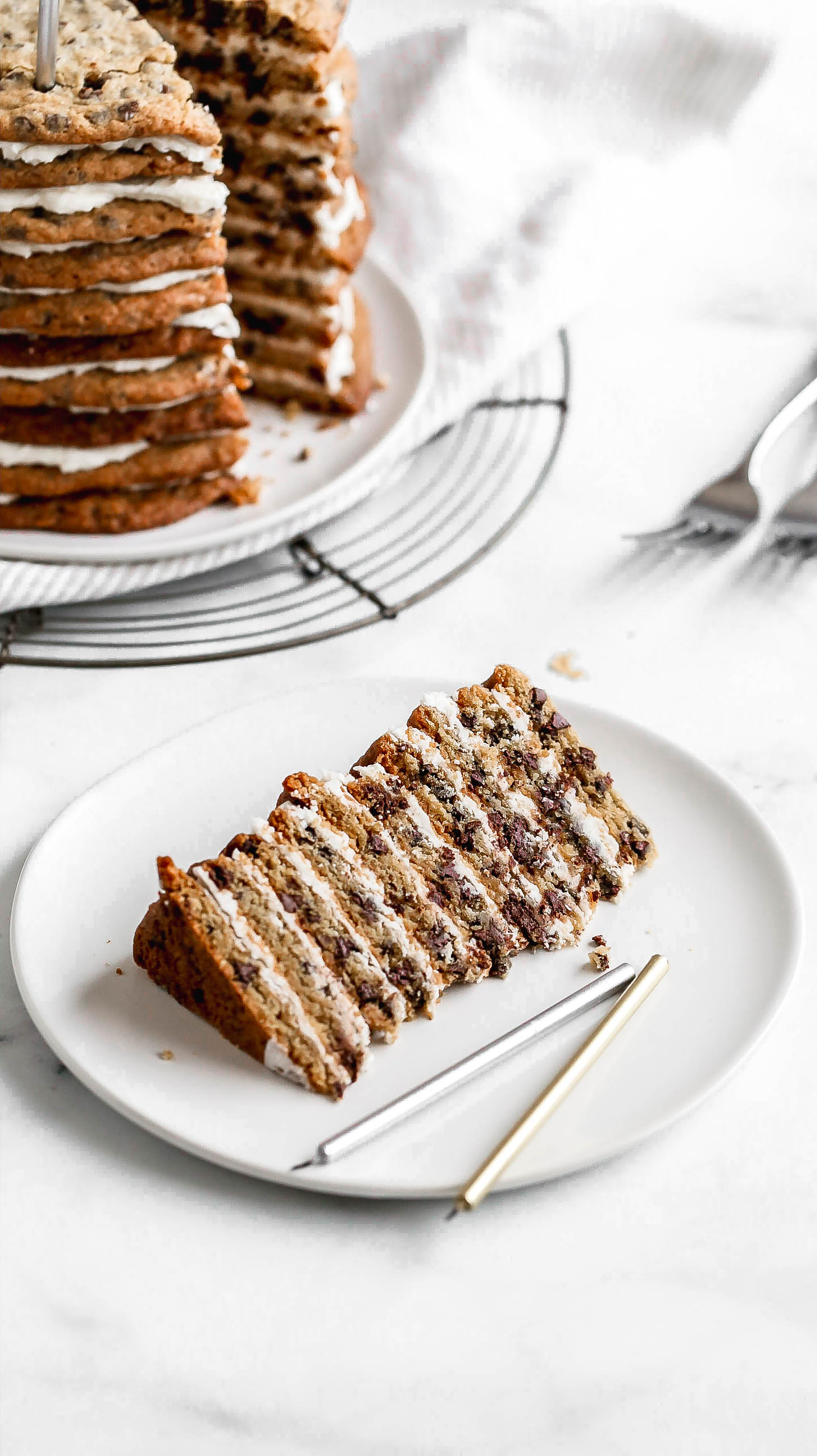a slice of chocolate chip cookie layer cake