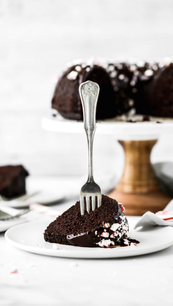 a slice of chocolate peppermint bundt cake