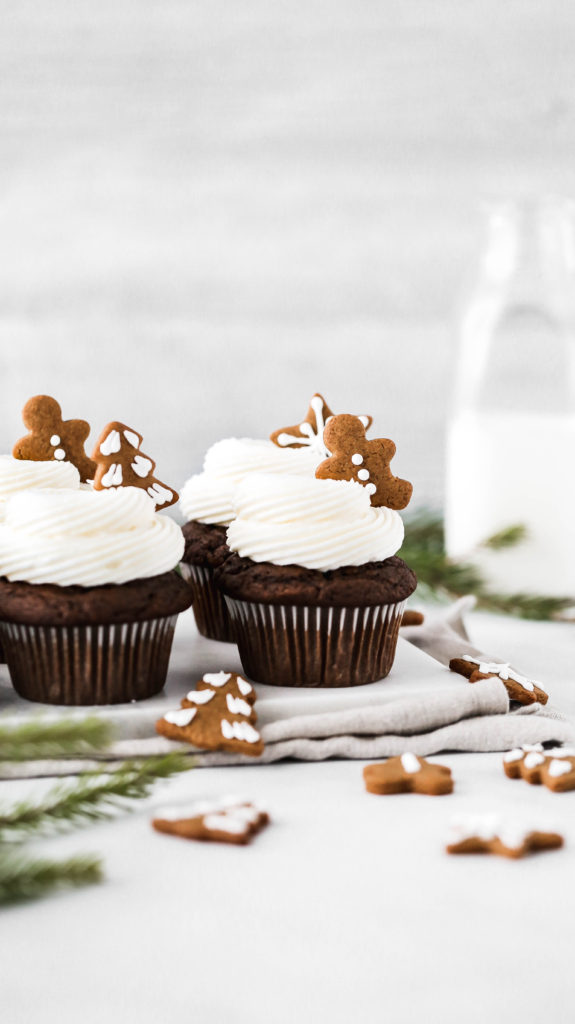 gingerbread cupcakes on a marble serving board