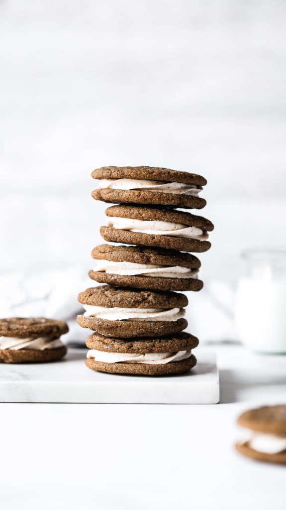 a stack of soft gingerbread sandwich cookies