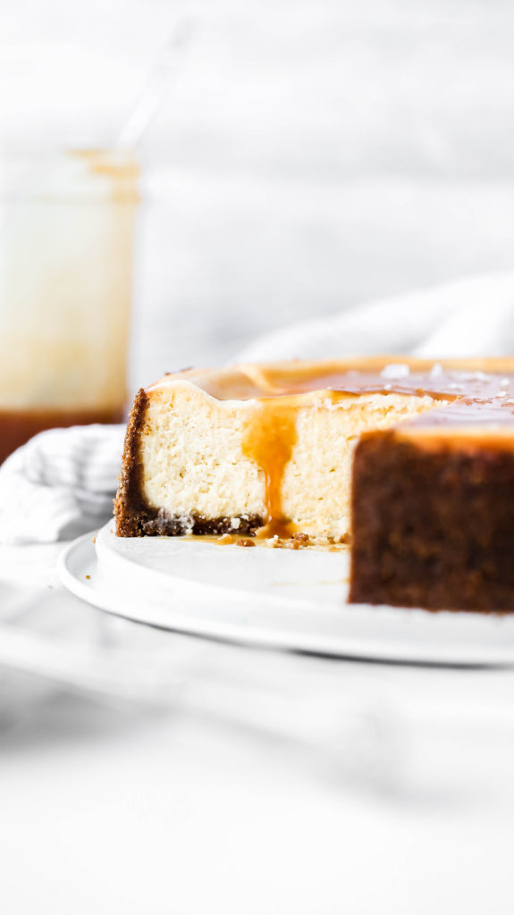 a peak inside a salted caramel cheescake