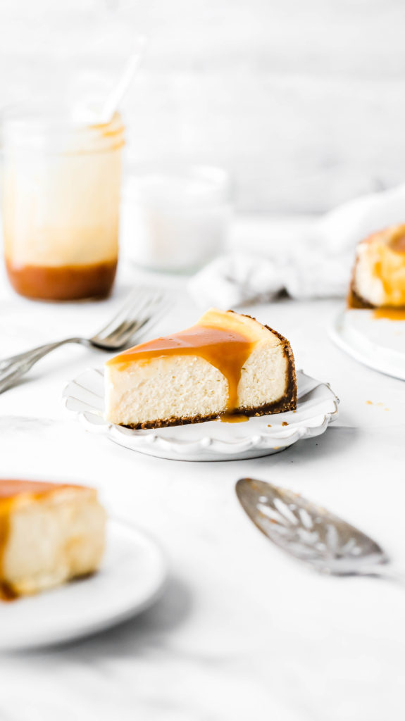 a slice of salted caramel cheesecake