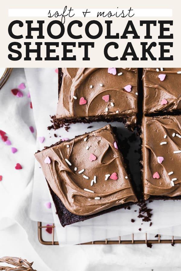 chocolate sheet cake pinterest graphic