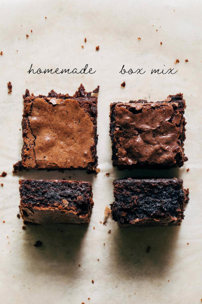 comparing homemade brownies and box mix brownies