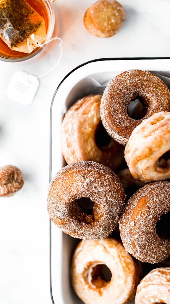 a tray of chai spiced old-fashioned donuts