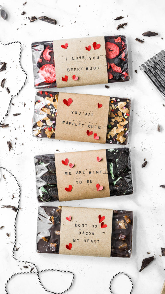 diy valentine's day chocolate bars with homemade wraps