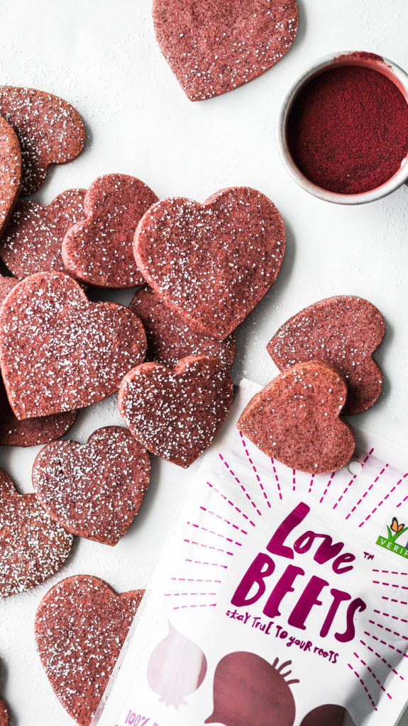 heart shaped cookies colored with beet powder