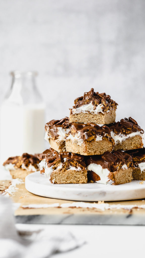 a stack of s'mores bars