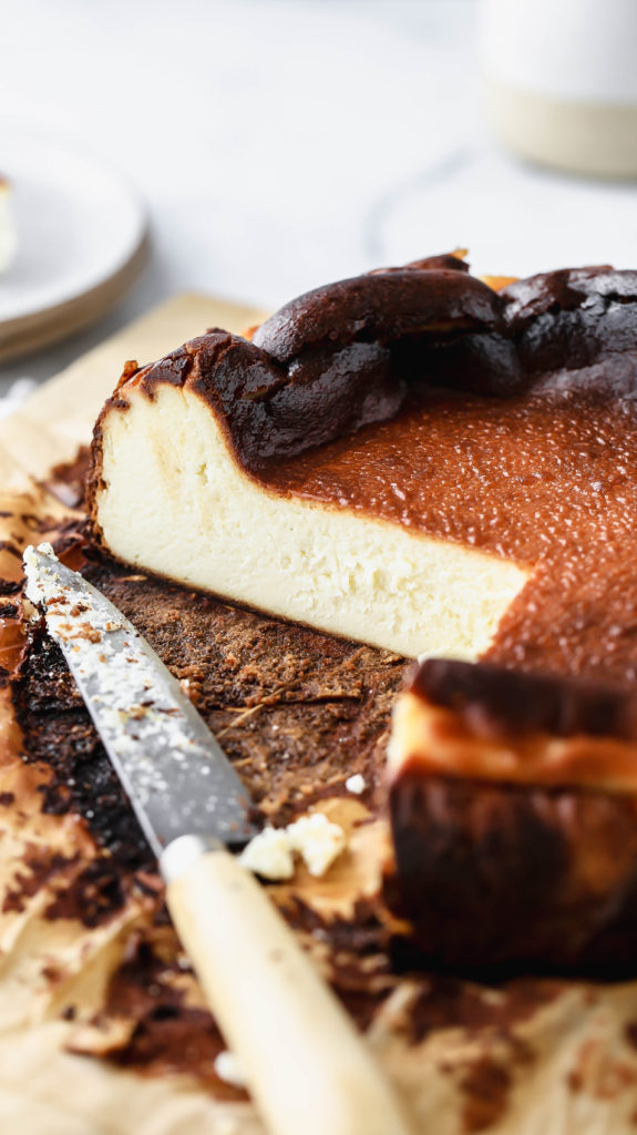 a sliced burnt basque cheesecake