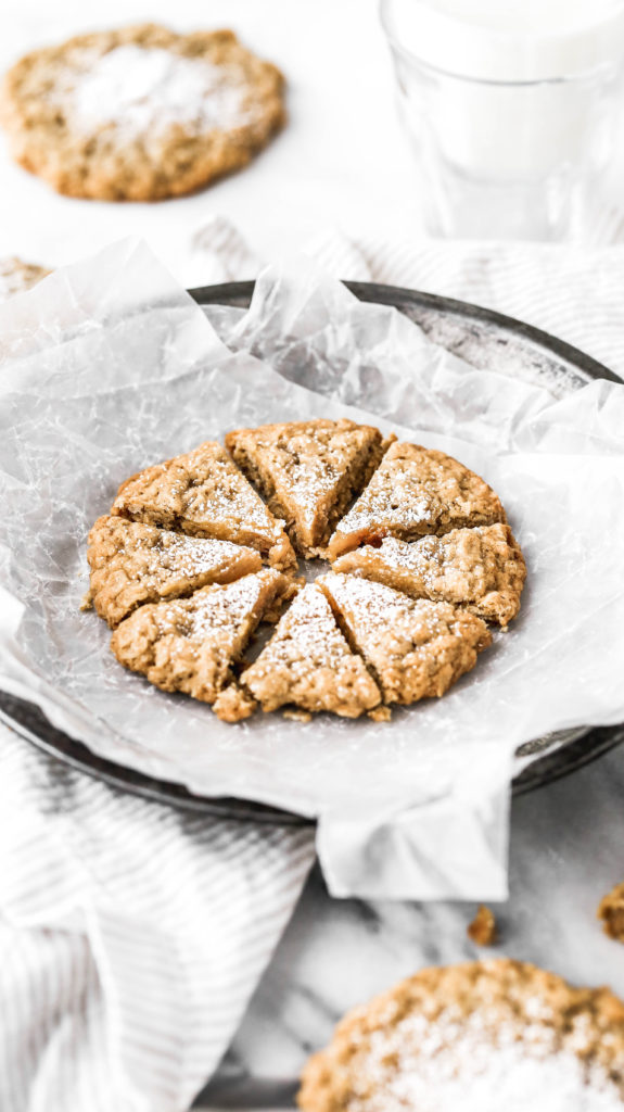 a gooey butter oatmeal cookie cut in half
