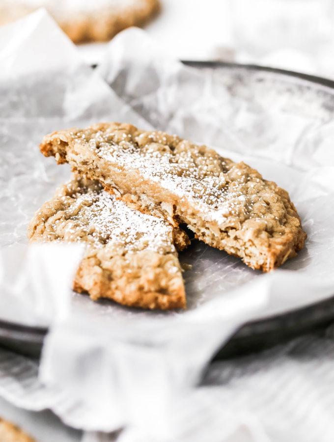 a gooey butter oatmeal cookie cut in half