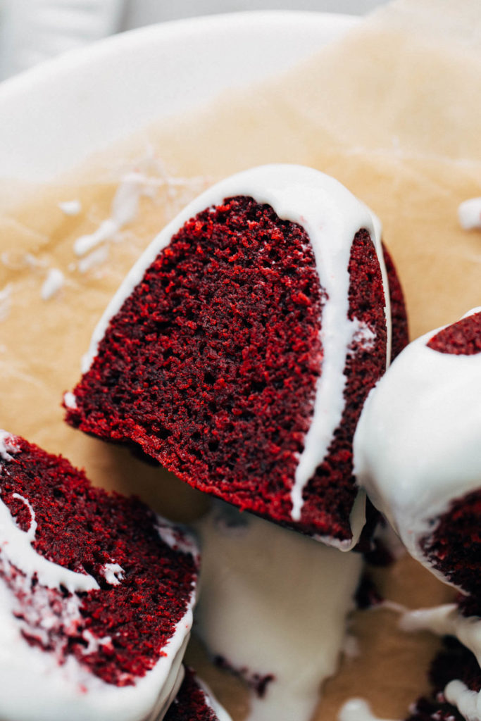 close up on a slice of red velvet cake
