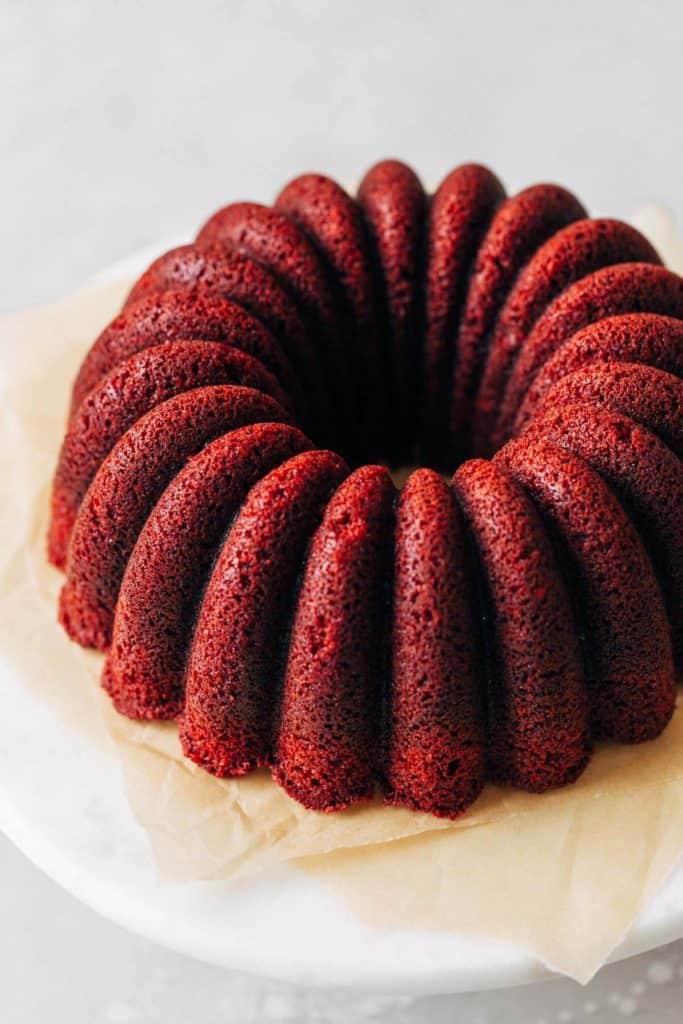 red velvet bundt cake without the glaze