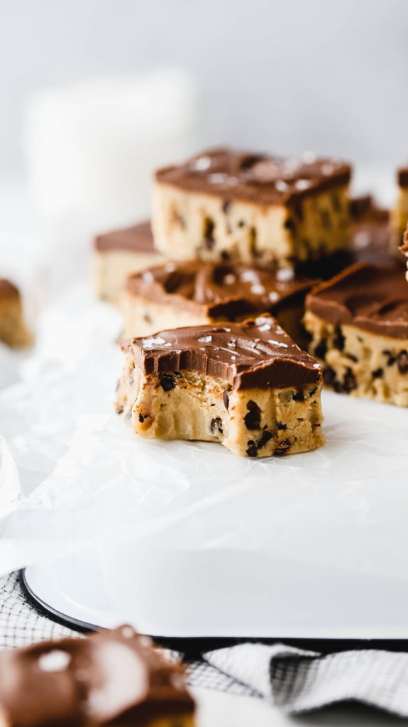 cookie dough fudge with a bite taken out