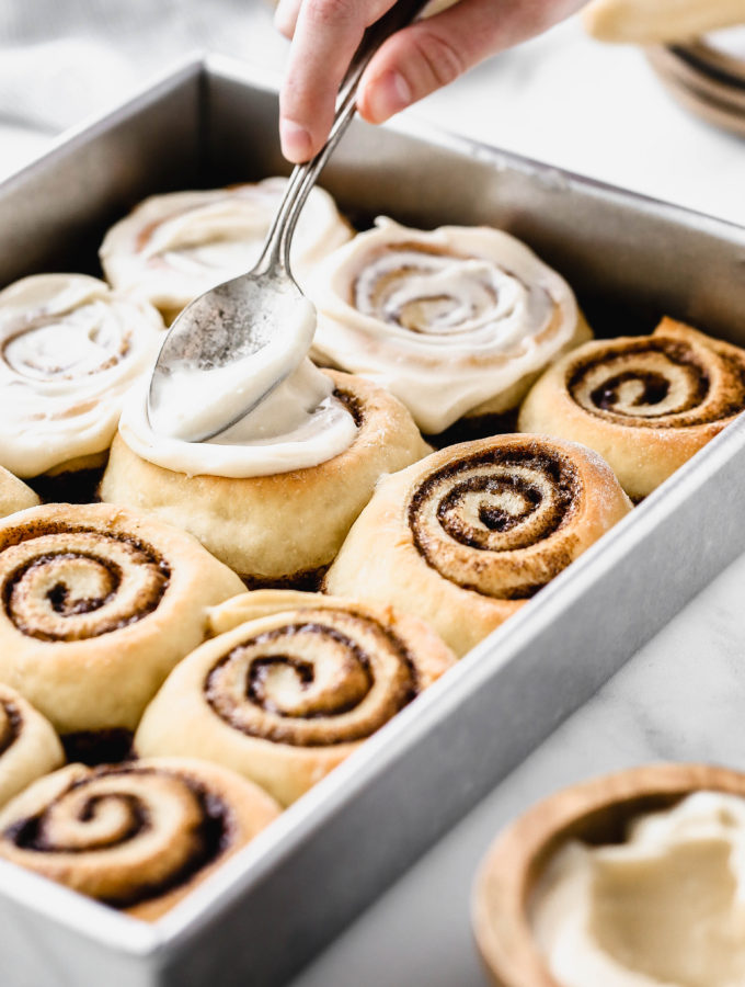 a tray of easy homemade cinnamon rolls