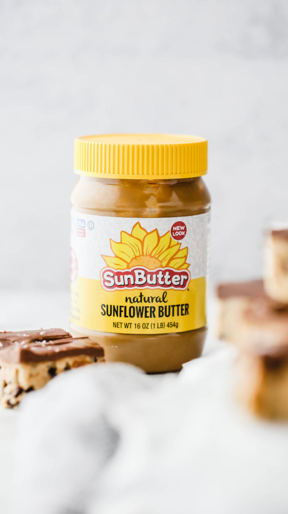 a jar of sunbutter for sunbutter chocolate chip cookie dough fudge