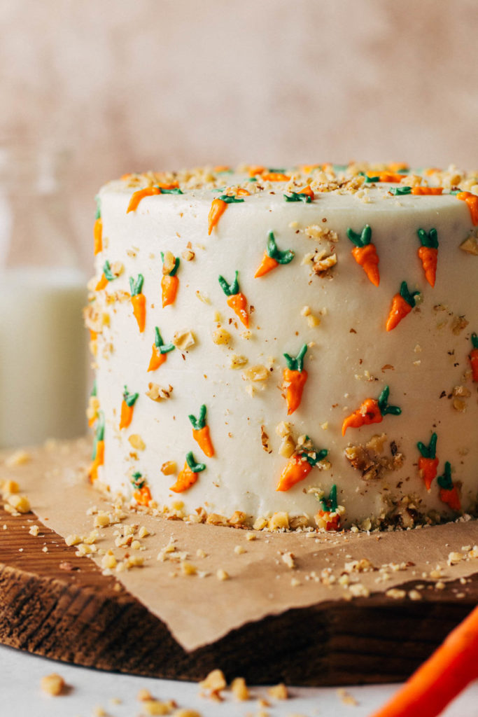 close up on the decorations of a carrot cake